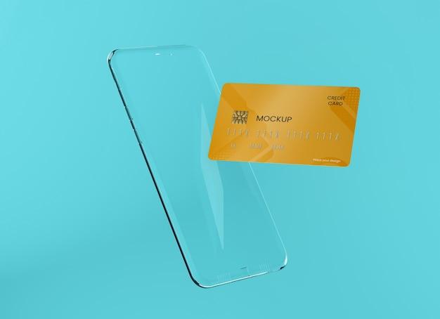 Maqueta transparente de teléfono y tarjeta