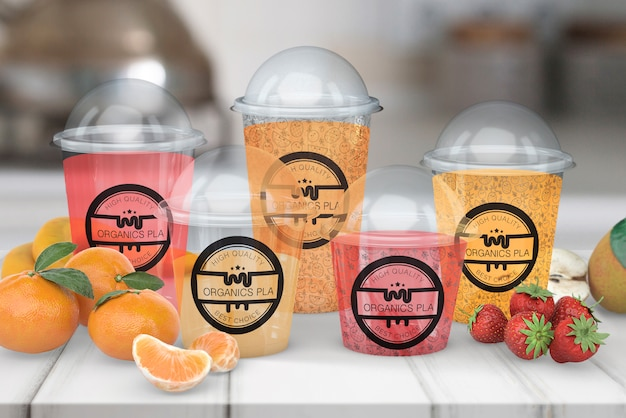 Maqueta transparente de vaso de smoothie