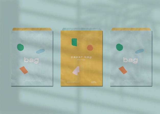 Maqueta de tres bolsas de papel