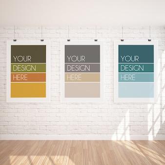 Maqueta de tres carteles colgantes verticales en un interior moderno con pared de ladrillo blanco
