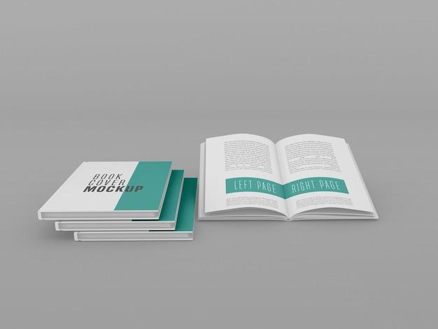 Maqueta de tres libros de tapa dura