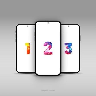 Maqueta de tres pantallas de teléfonos inteligentes