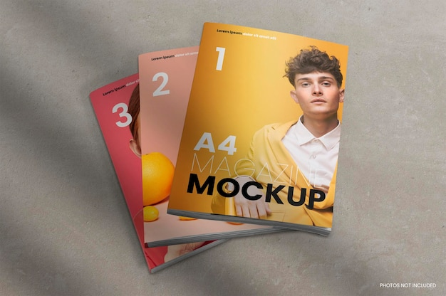 Maqueta de tres revistas