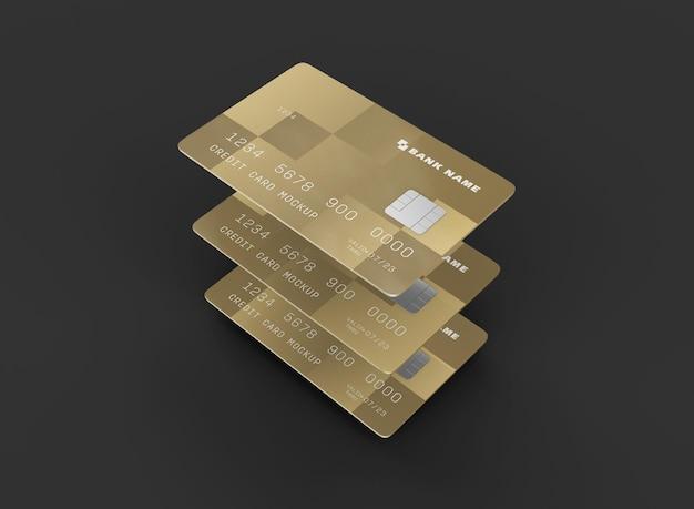 Maqueta de tres tarjetas de crédito