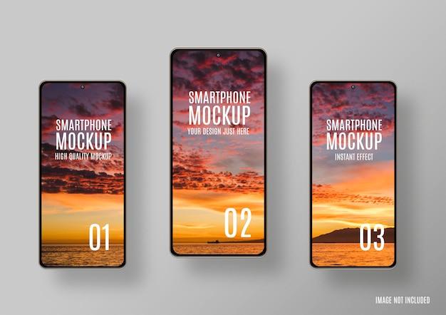 Maqueta de tres teléfonos inteligentes