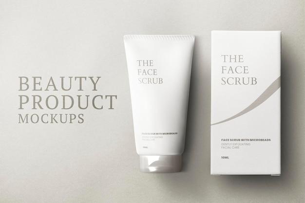 Maqueta de tubo de cuidado de la piel psd con caja de embalaje para marcas de belleza