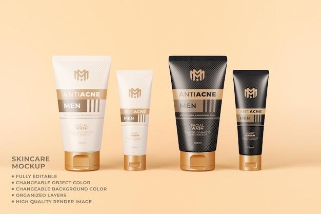 Maqueta de tubo de embalaje cosmético color cambiable cuidado de la piel
