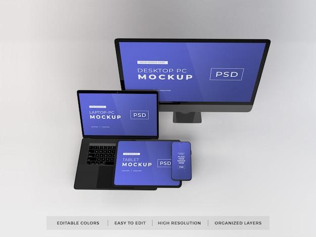 Maqueta de varios dispositivos realistas