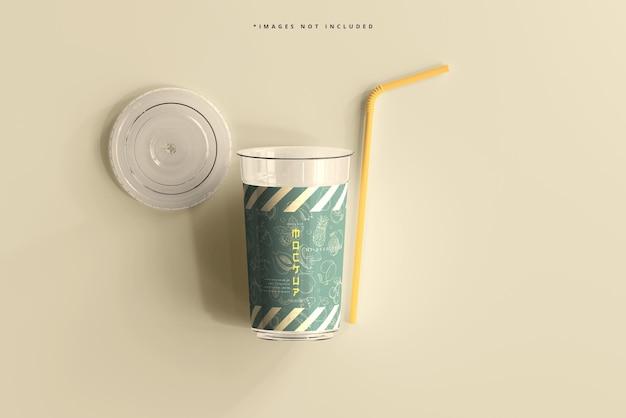Maqueta de vaso de plástico grande con tapa plana