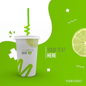 Maqueta de vaso de plástico verde