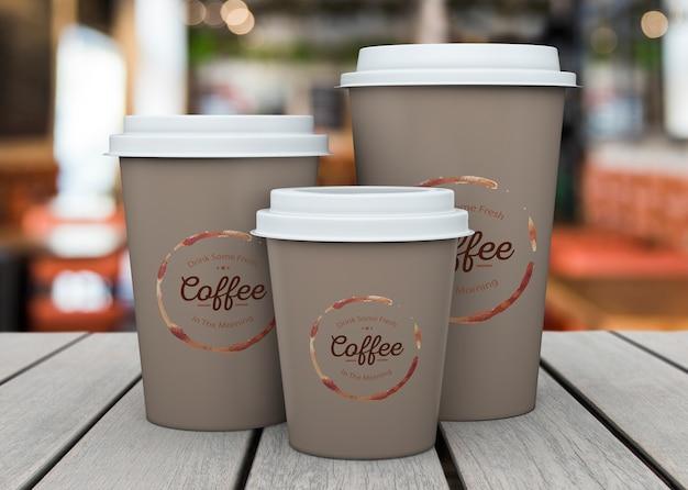 Maqueta de vasos de café