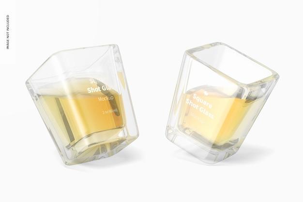 Maqueta de vasos de chupito cuadrados, inclinado