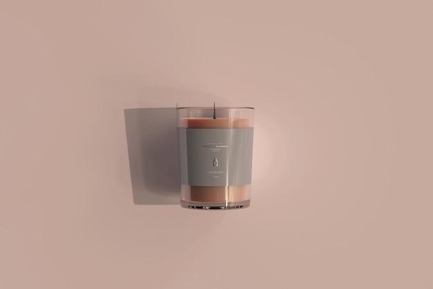 Maqueta de vela votiva de vidrio transparente