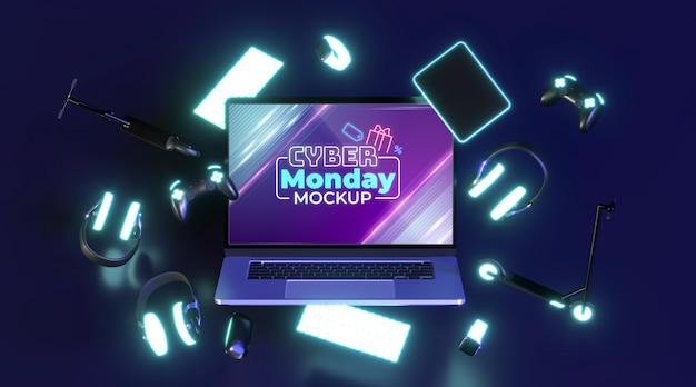 Maqueta de venta de cyber monday con laptop