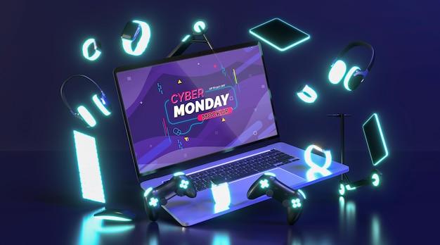 Maqueta de venta de cyber monday con nueva computadora portátil