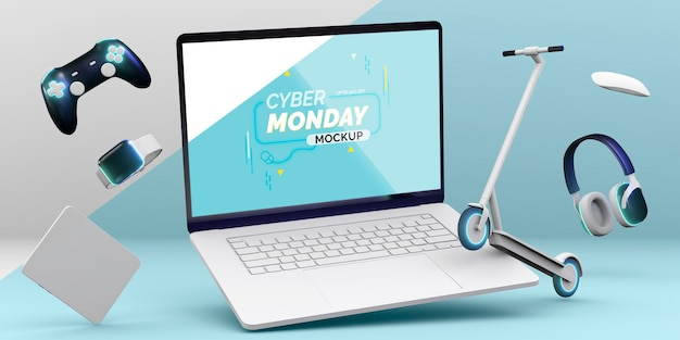 Maqueta de venta de laptop cyber monday con disposición de diferentes dispositivos