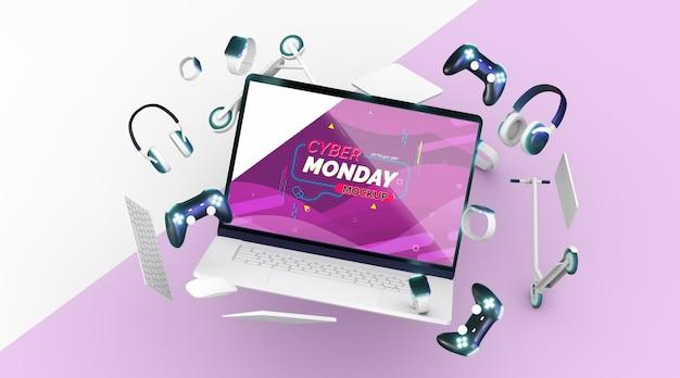 Maqueta de venta de laptop cyber monday