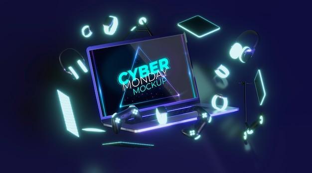 Maqueta de venta de portátil cyber monday de vista frontal