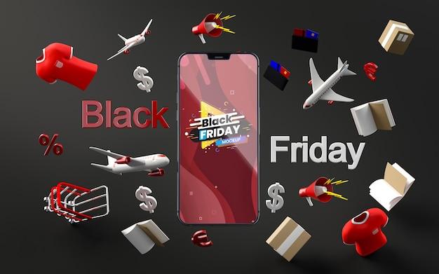 Maqueta de venta de viernes negro de artículos 3d fondo negro