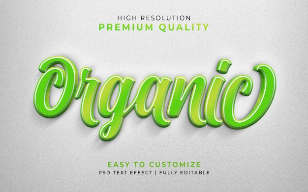 Maqueta verde de efecto de estilo de texto 3d orgánico