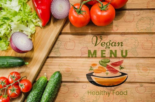 Maqueta de verduras frescas y saludables