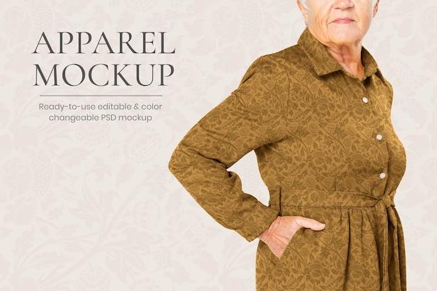 Maqueta de vestido floral psd para anuncio editable de moda senior