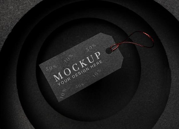 Maqueta de viernes negro etiqueta de precio negro