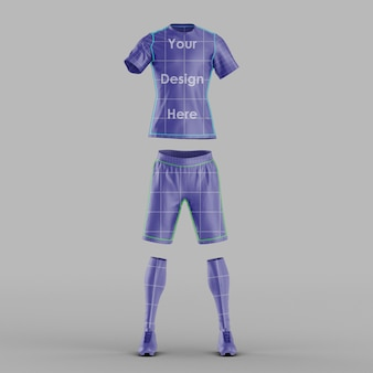 Maqueta de vista frontal de camiseta de fútbol aislado