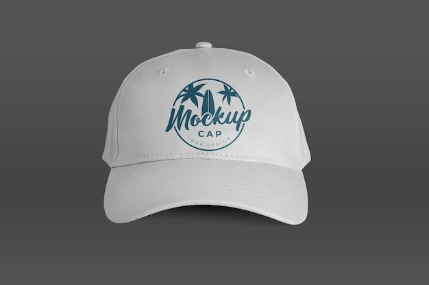 Maqueta de vista frontal de gorra blanca