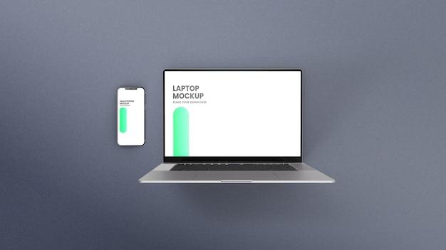 Maqueta de vista superior de computadora portátil y teléfono inteligente