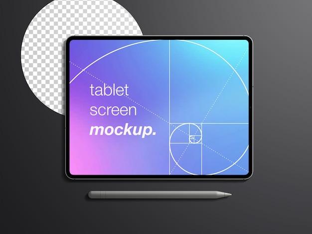 Maqueta de vista superior realista aislada de la pantalla del dispositivo de tableta con lápiz óptico