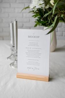 Maqueta de visualización de menú de tabla