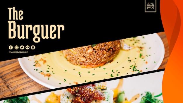 Maqueta para web con concepto de hamburguesa