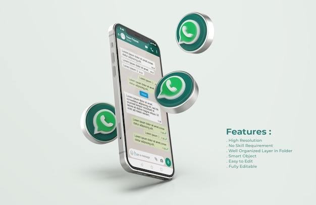 Maqueta de whatsapp en un teléfono móvil plateado PSD Premium