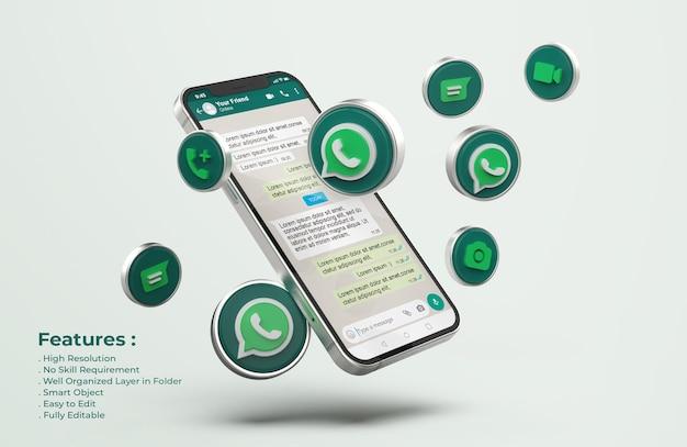 Maqueta de whatsapp en un teléfono móvil plateado