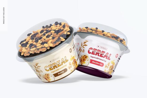 Maqueta de yogures con taza de cereal, inclinada