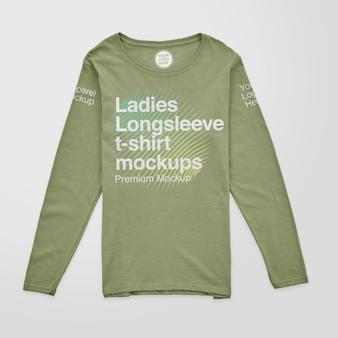 Maquetas de camisetas de manga larga para mujer