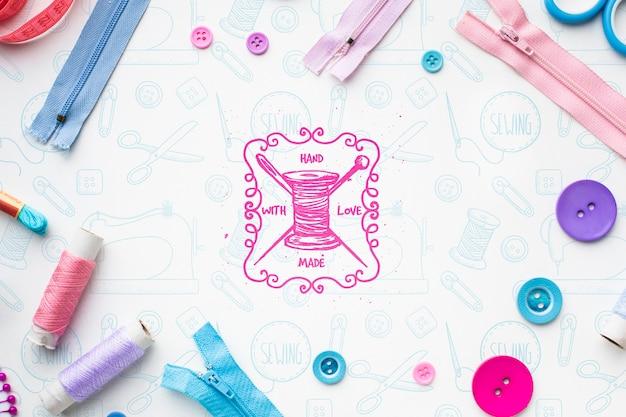 Maquetas coloridas de cremalleras y botones
