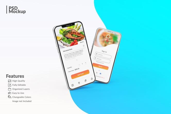 Maquetas editables de teléfonos inteligentes para mostrar la plantilla de concepto de aplicación de alimentos
