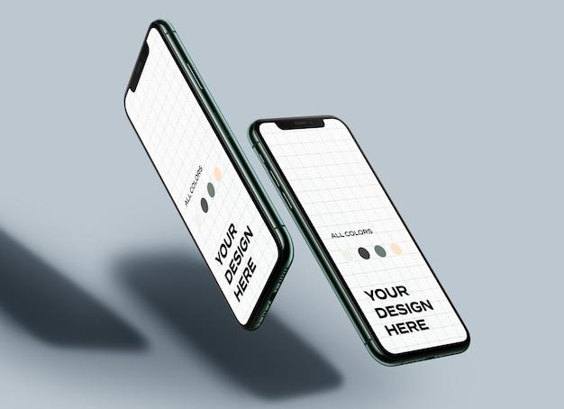 Maquetas flotantes de teléfonos móviles