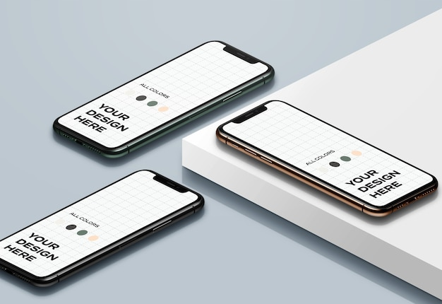 Maquetas isométricas de iphone 11 pro
