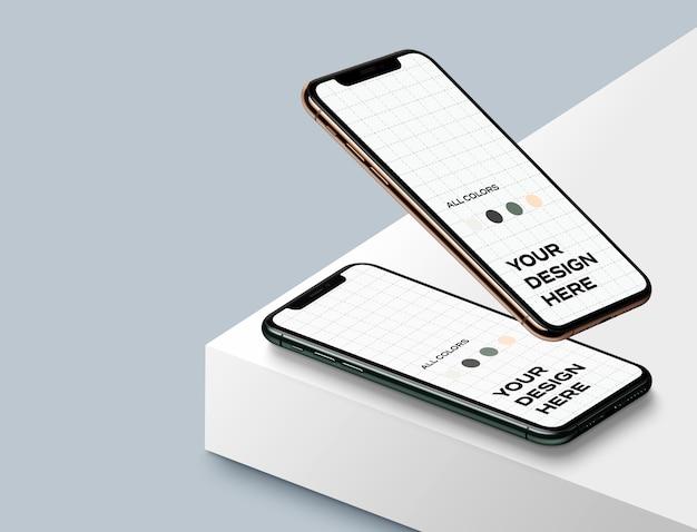 Maquetas isométricas de teléfonos inteligentes nuevos