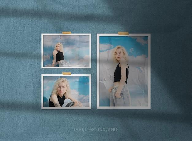 Maquetas de marcos de fotos con efecto papel.