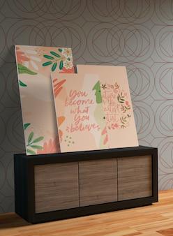 Maquetas de pinturas en la pared