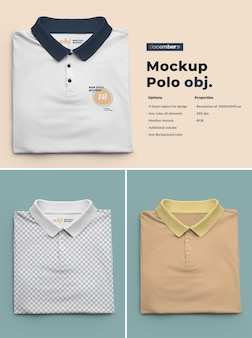 Maquetas de polo. el diseño es fácil de personalizar el diseño de imágenes y el color de la camiseta, el puño, el botón y el cuello.