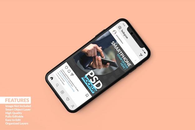 Las maquetas realistas de teléfonos móviles premium se quedaron dormidas para mostrar la plantilla de publicación de instagram premium