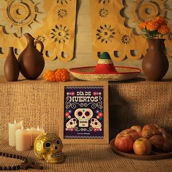 Maquetas del sombrero mexicano tradicional y calavera floral del día de los muertos