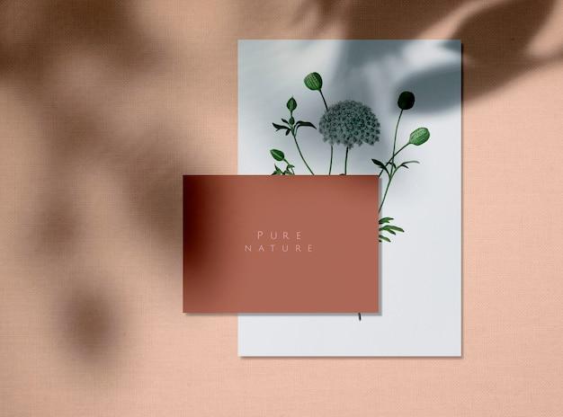 Maquetas de tarjetas de diseño de naturaleza pura.