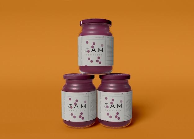 Maquetas de tarros de mermelada