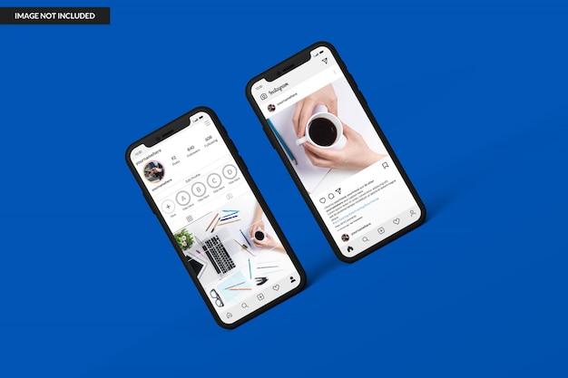 Maquetas de teléfonos inteligentes para mostrar la plantilla de publicación de instagram